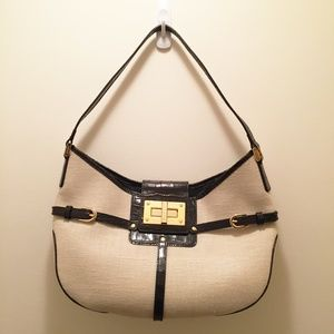 Ralph Lauren Canvas & Black Leather Bag Gold Clasp